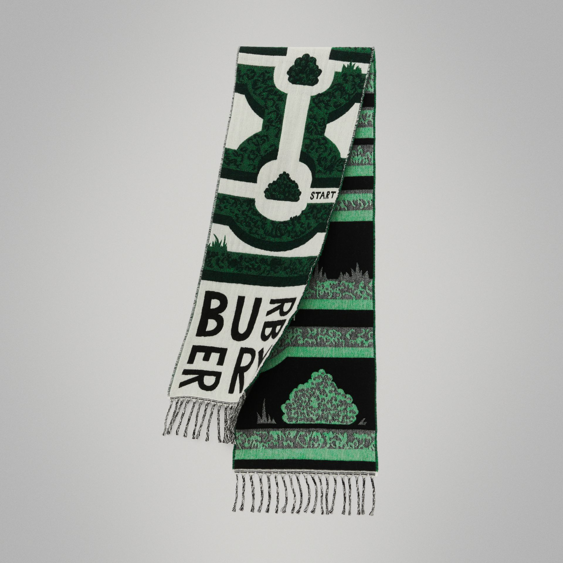 Hedge Maze Wool Cashmere Jacquard Scarf in Tourmaline Green - Children | Burberry - gallery image 0