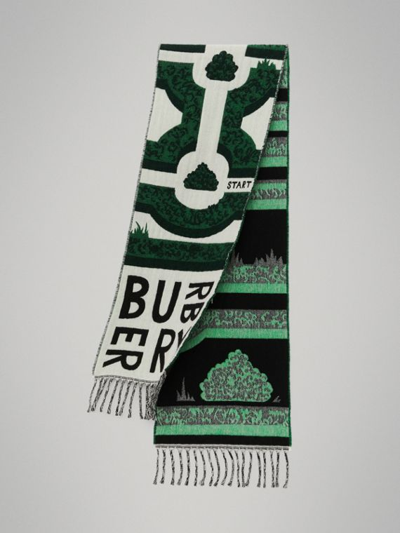 Hedge Maze Wool Cashmere Jacquard Scarf in Tourmaline Green