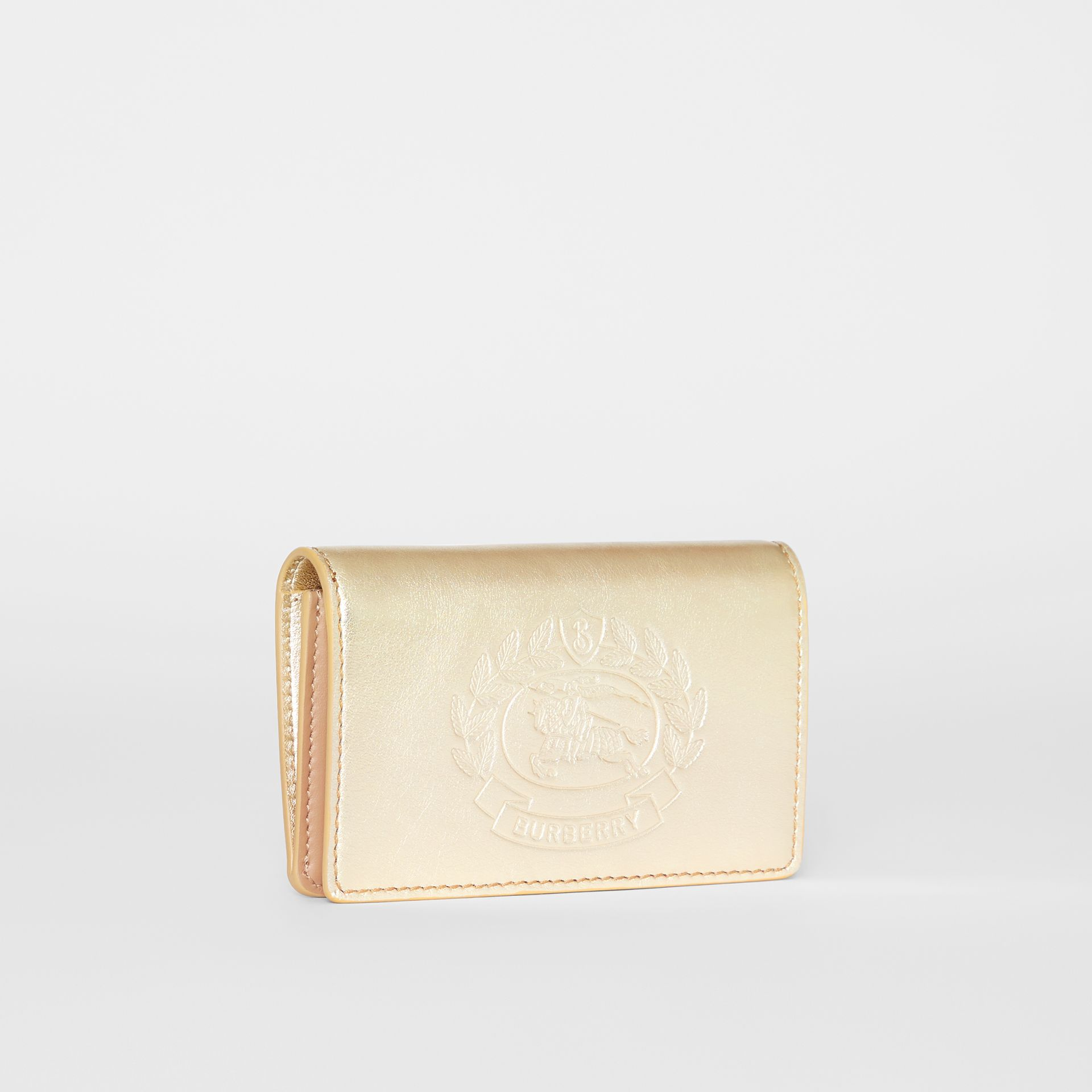Small Embossed Crest Metallic Leather Wallet in Gold - Women | Burberry Singapore - gallery image 4