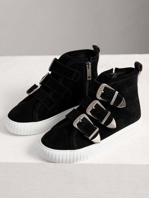 Buckle Detail Suede High-top Trainers in Black | Burberry - cell image 3