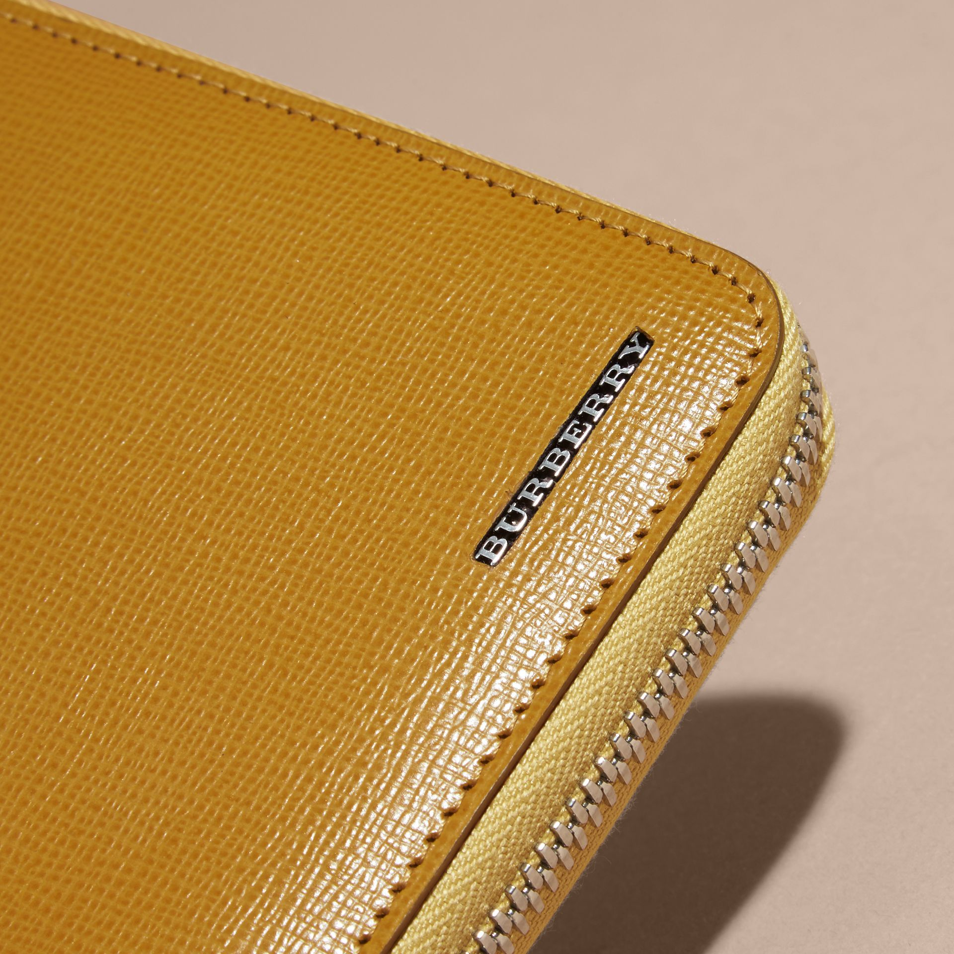 London Leather Ziparound Wallet Larch Yellow - gallery image 3