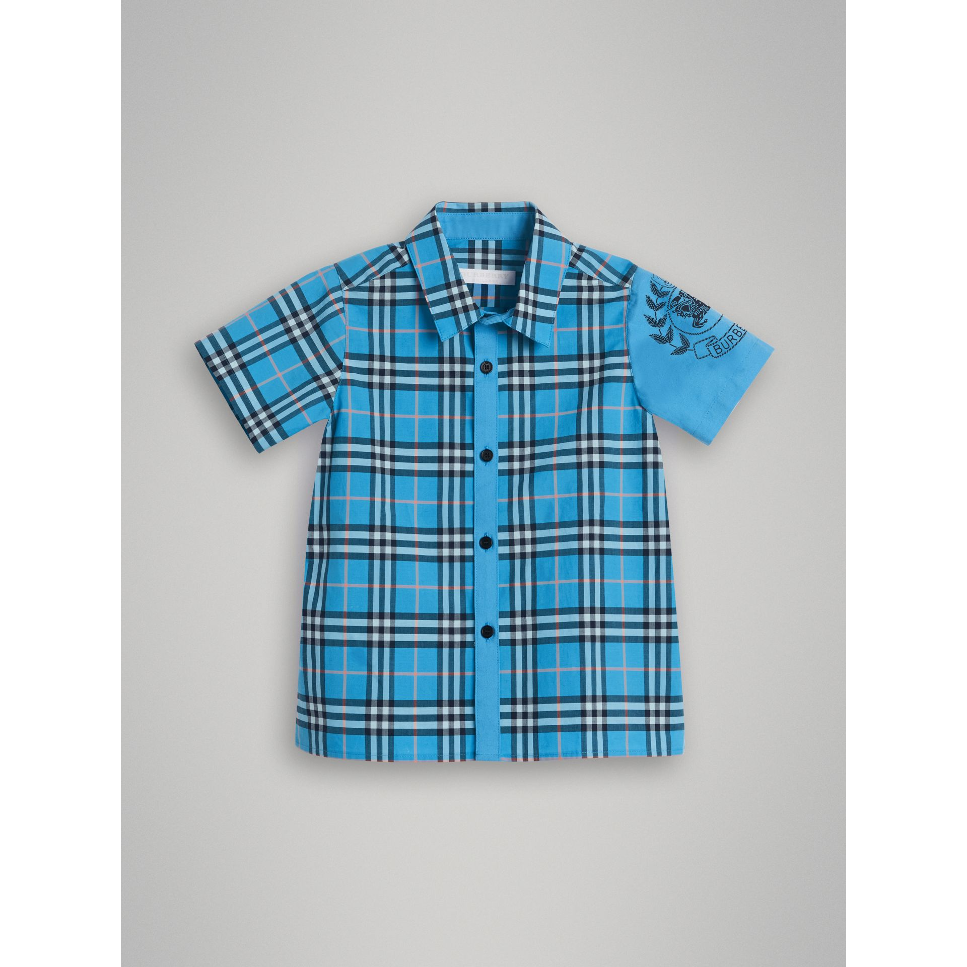 Short-sleeve Archive Logo Detail Check Cotton Shirt in Azure Blue | Burberry - gallery image 0