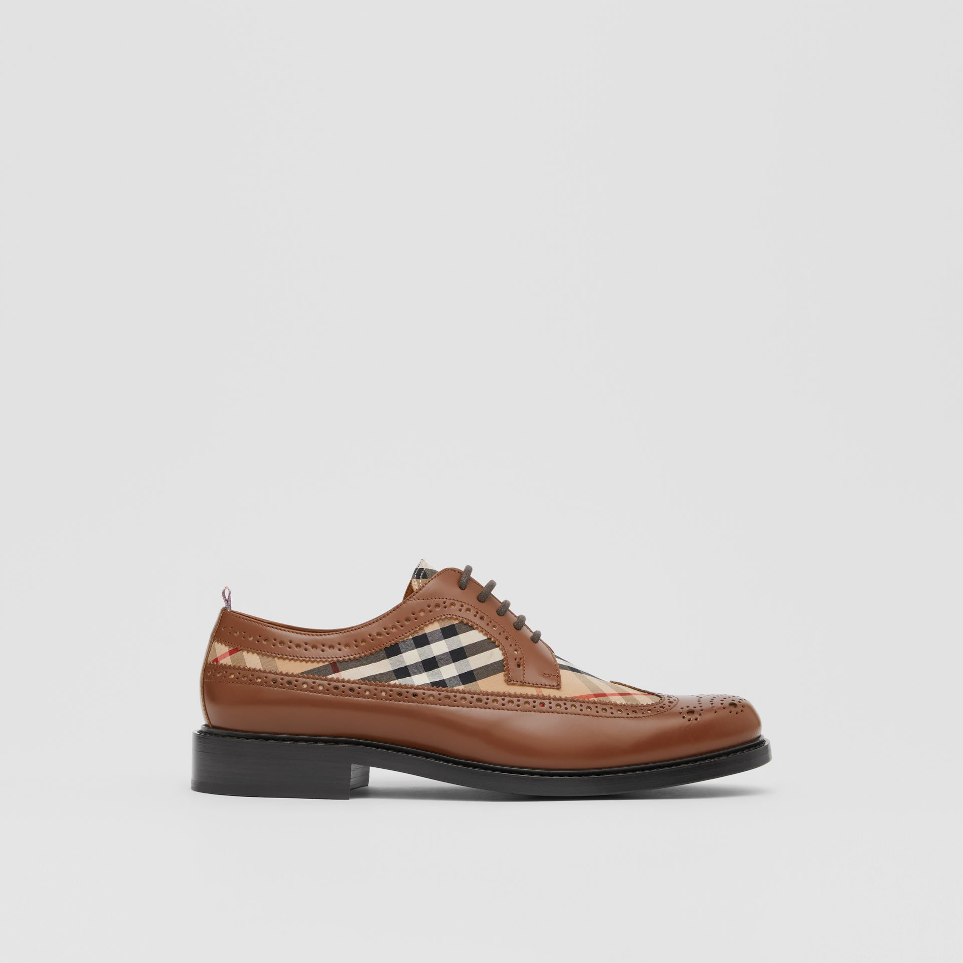 Brogue Detail Leather and Vintage Check Derby Shoes in Tan/archive Beige - Men | Burberry United Kingdom - gallery image 4