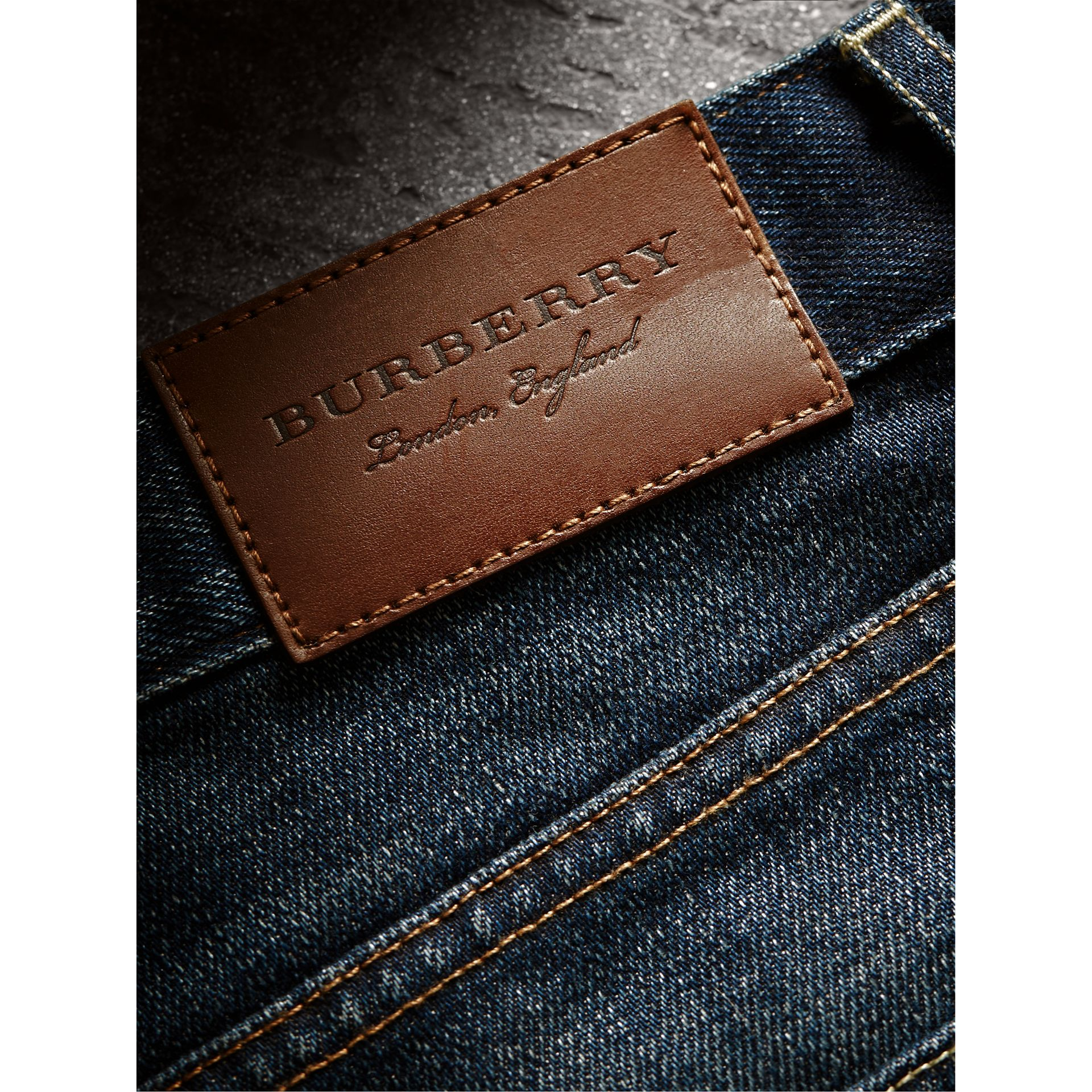 Skinny Fit Brushed Stretch Denim Jeans in Vintage Blue - Men | Burberry Canada - gallery image 2