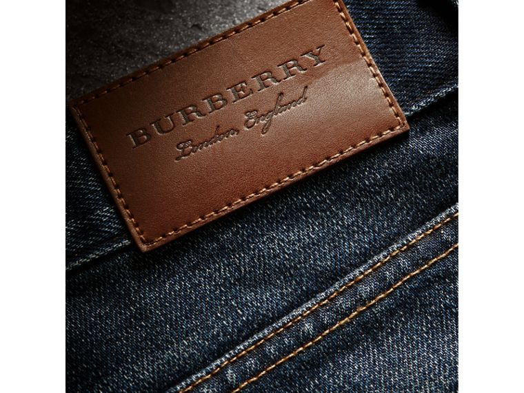 Skinny Fit Brushed Stretch Denim Jeans in Vintage Blue - Men | Burberry Canada - cell image 1