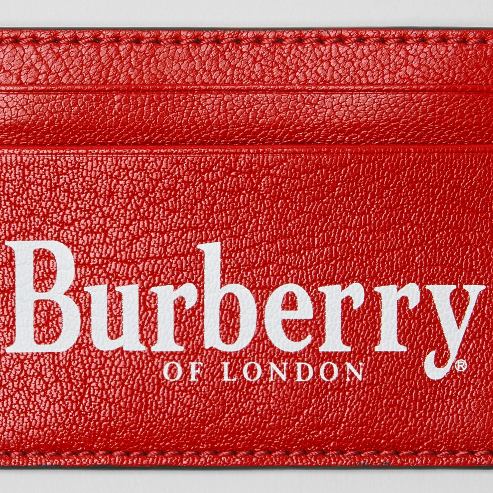 Logo Print Leather Card Case in Rust Red/black | Burberry - gallery image 1