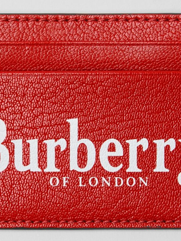 Logo Print Leather Card Case in Rust Red/black | Burberry - cell image 1