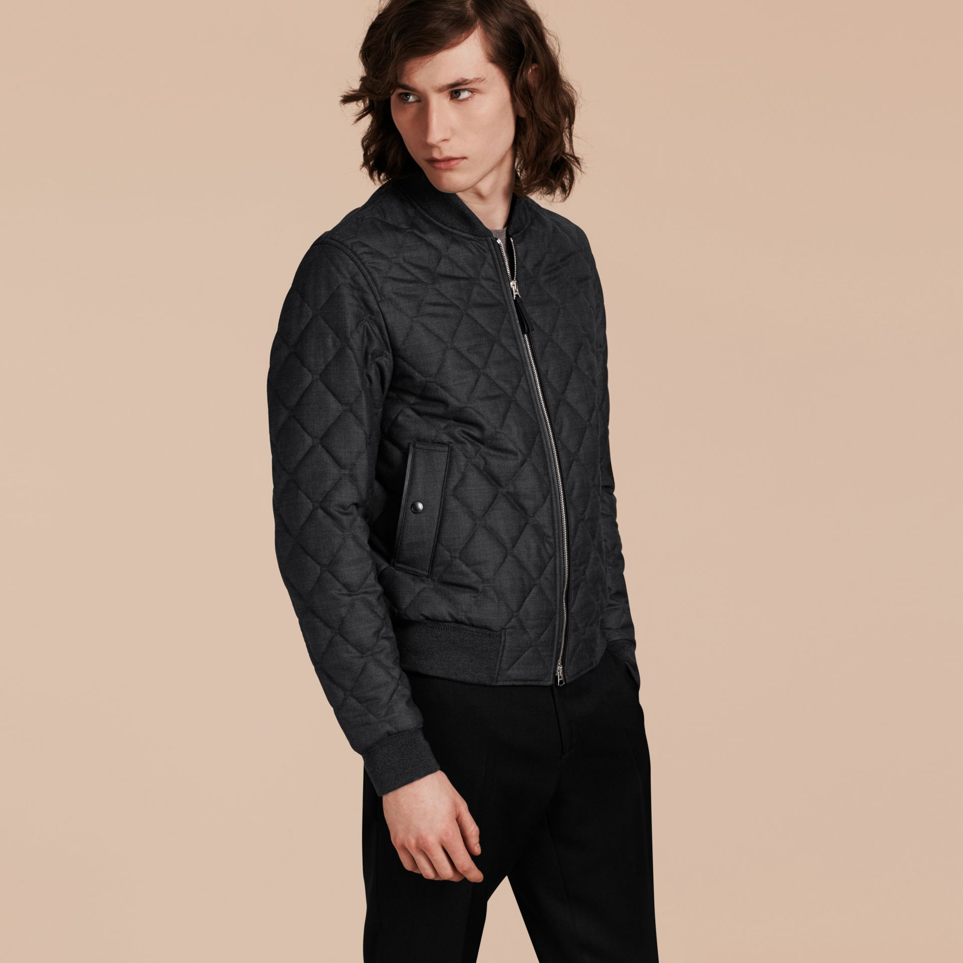 Charcoal Lambskin Trim Quilted Wool Bomber Jacket - gallery image 7