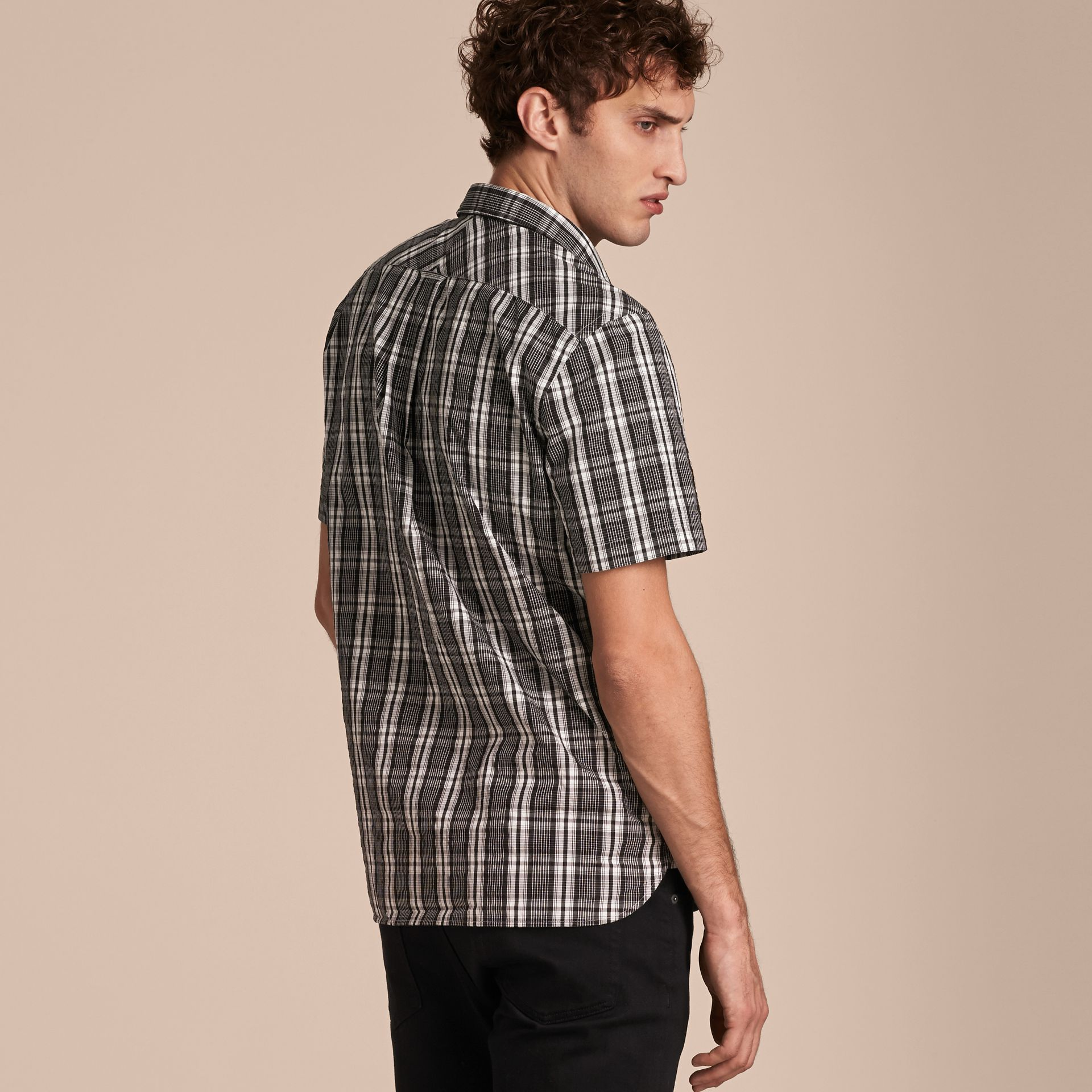 Short-sleeved Check Cotton Poplin Shirt - gallery image 3