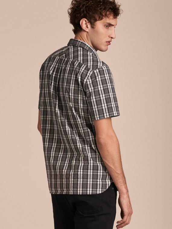 Short-sleeved Check Cotton Poplin Shirt - cell image 2