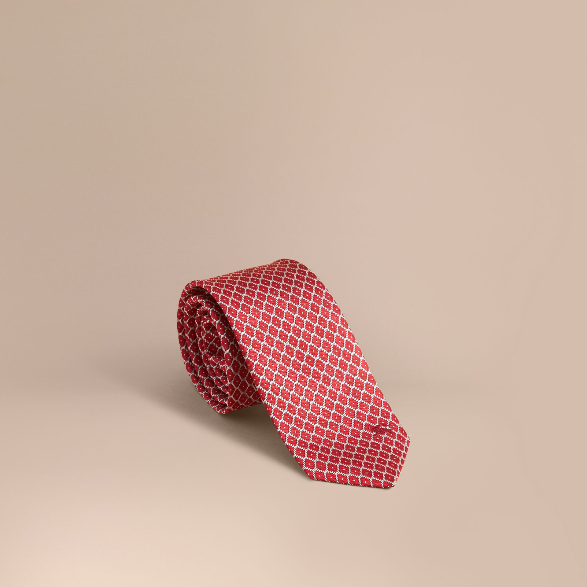 Modern Cut Silk Jacquard Tie Parade Red - gallery image 1