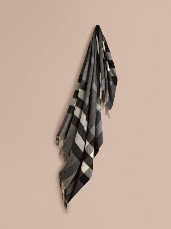 Check Cashmere Blanket in Mid Grey | Burberry Canada