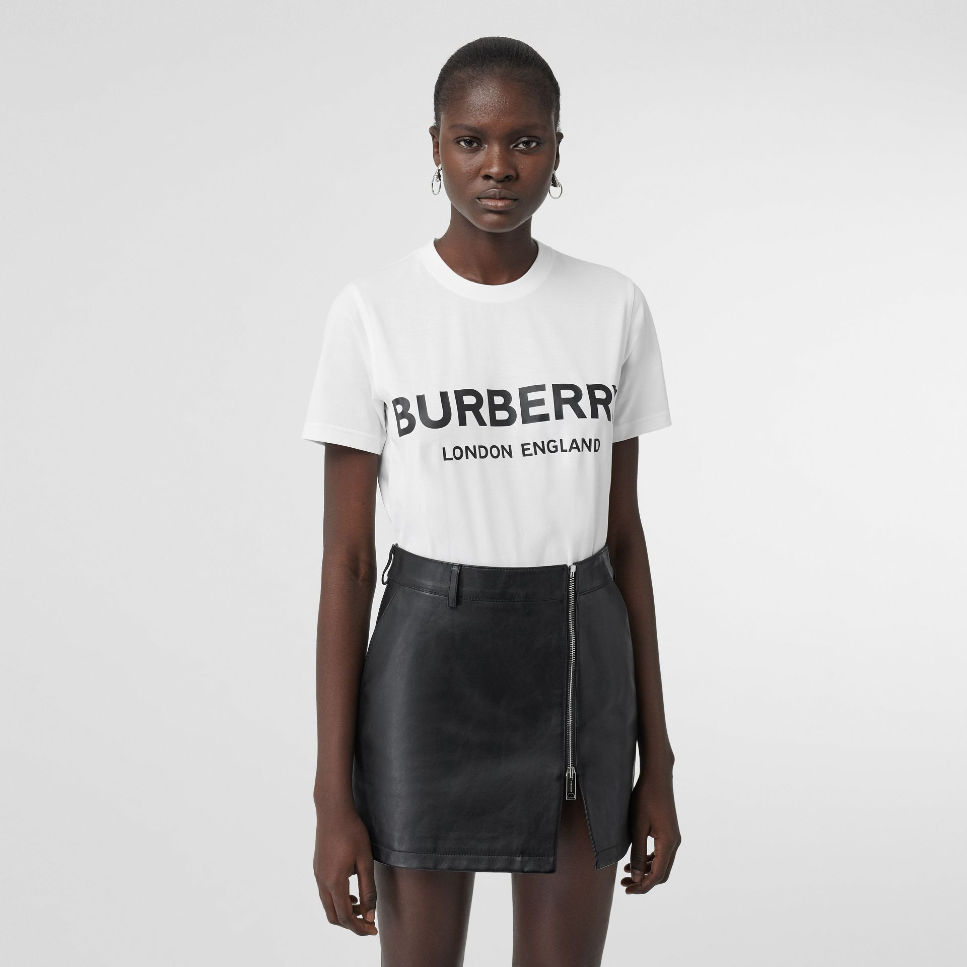 Logo Print Cotton T-shirt in White - Women | Burberry Australia - gallery image 0