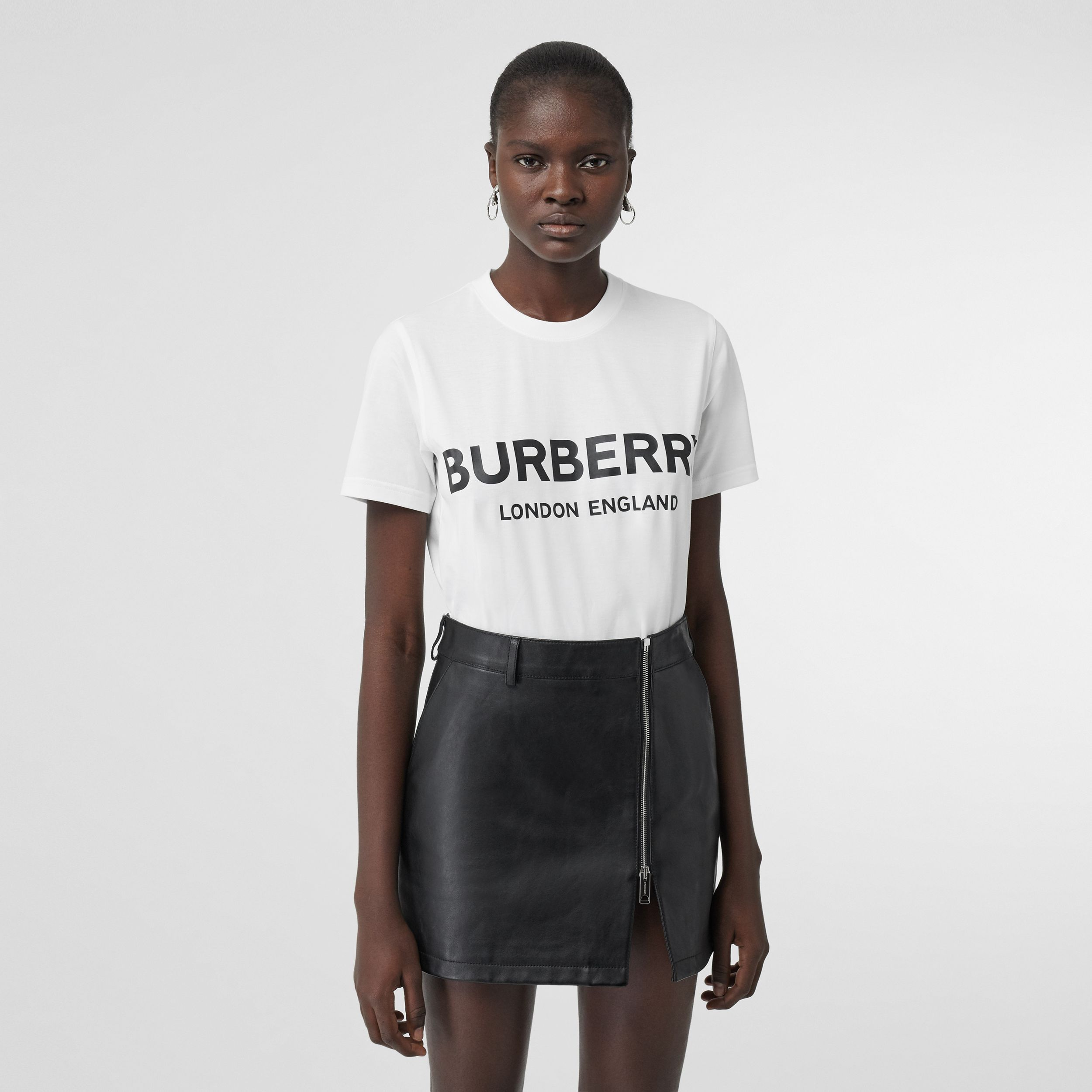 Logo Print Cotton T-shirt in White - Women | Burberry - 1
