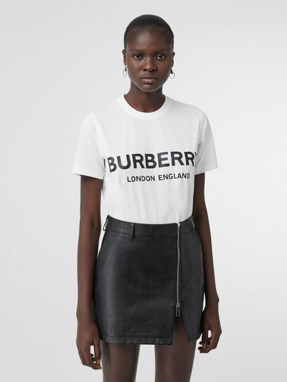 Camiseta de algodão com estampa de logotipo (Branco)