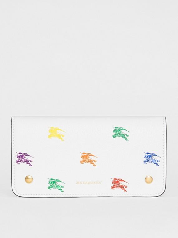 Lederbrieftasche für Mobiltelefone mit Ritteremblem-Muster (Kreideweiss)