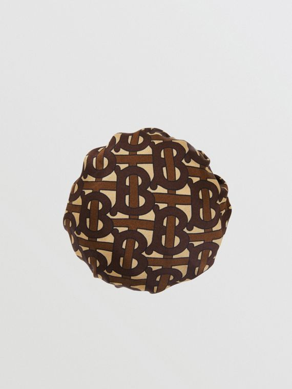 Monogram Print Silk Chignon Cover in Brown