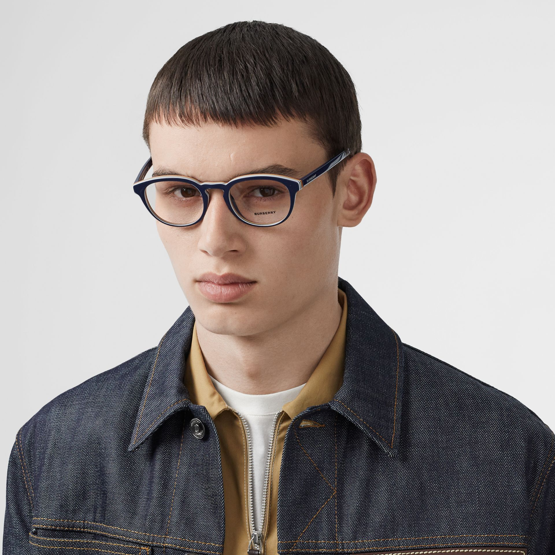 Icon Stripe Detail Round Optical Frames in Blue - Men | Burberry United Kingdom - gallery image 2