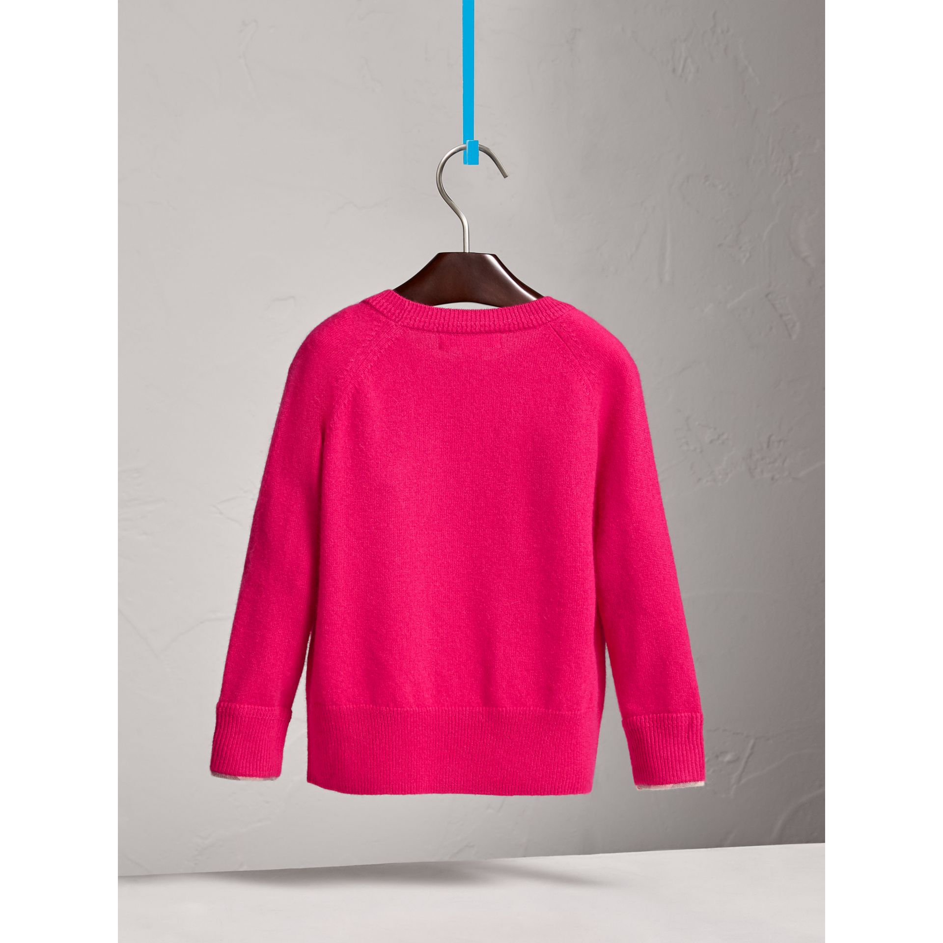 Check Cuff Cashmere Sweater in Bright Crimson Pink - Girl | Burberry - gallery image 3