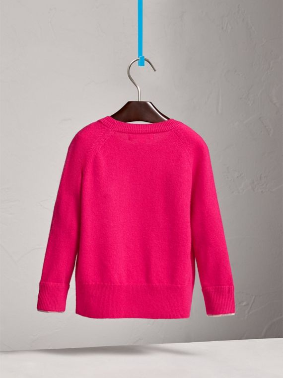 Check Cuff Cashmere Sweater in Bright Crimson Pink - Girl | Burberry - cell image 3