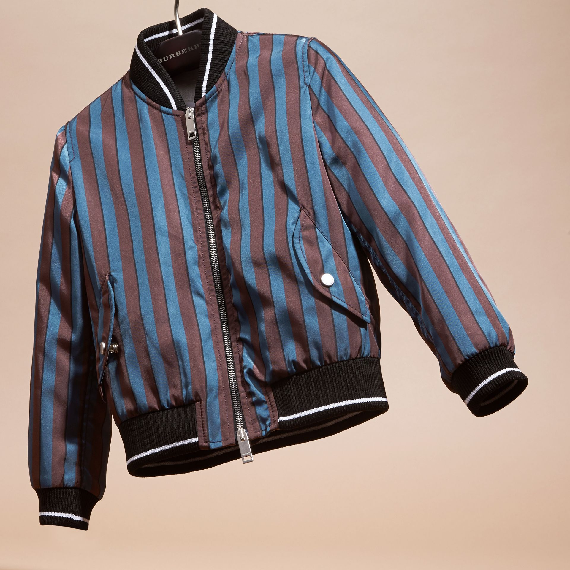 Navy Stripe Print Technical Bomber Jacket - gallery image 3