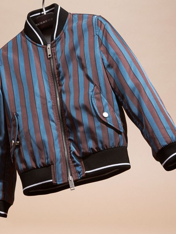 Navy Stripe Print Technical Bomber Jacket - cell image 2