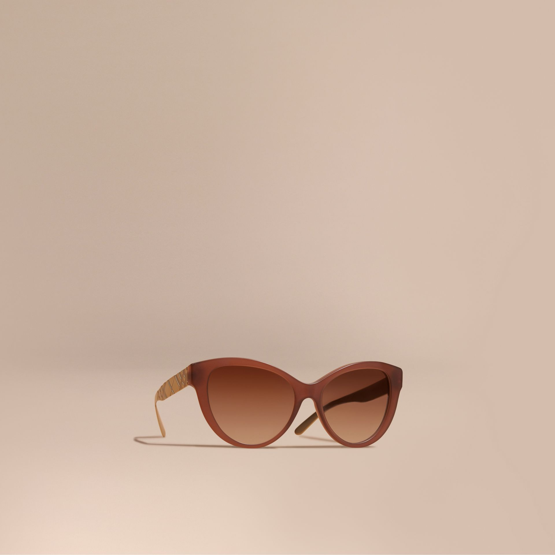 Taupe brown 3D Check Cat-eye Sunglasses Taupe Brown - gallery image 1
