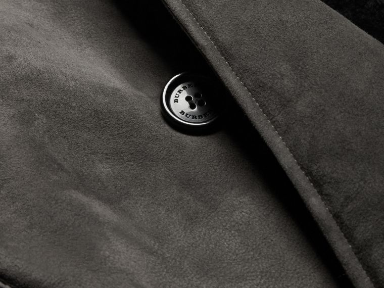 Nero fumo Trench coat in shearling - cell image 1