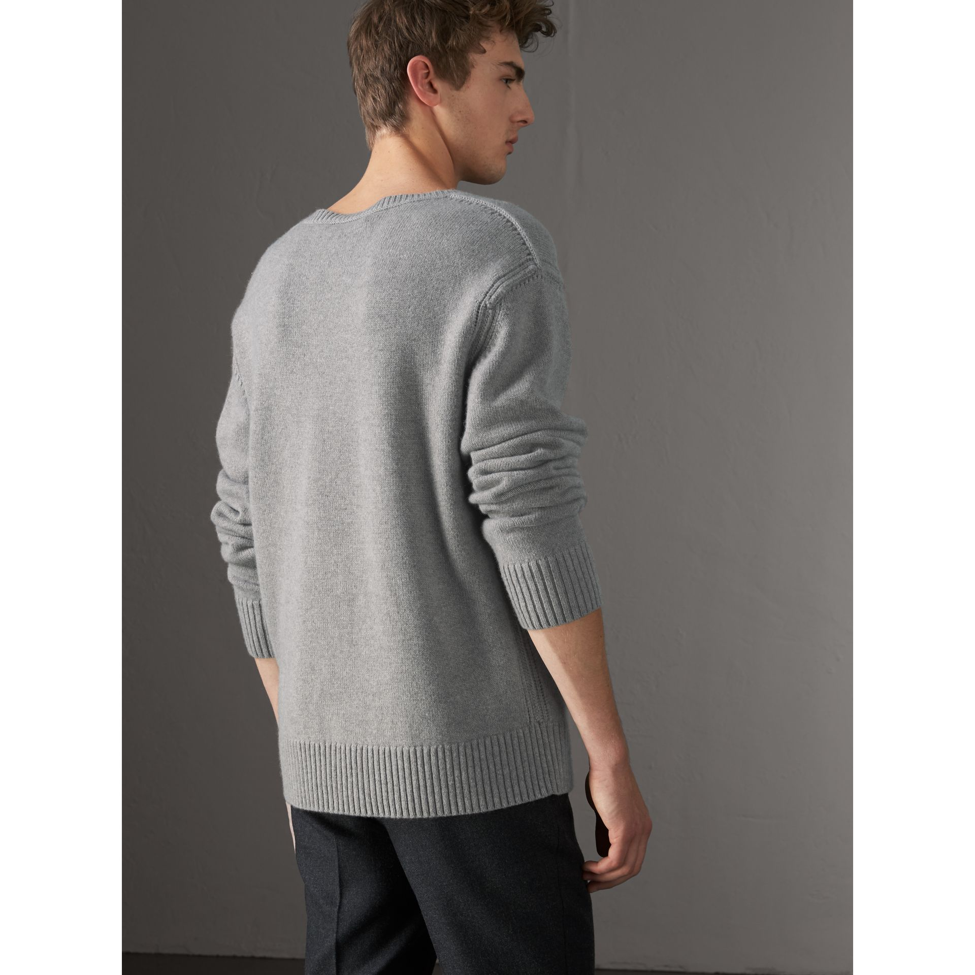 Open-knit Detail Wool Cashmere Sweater in Light Grey Melange - Men | Burberry United States - gallery image 2