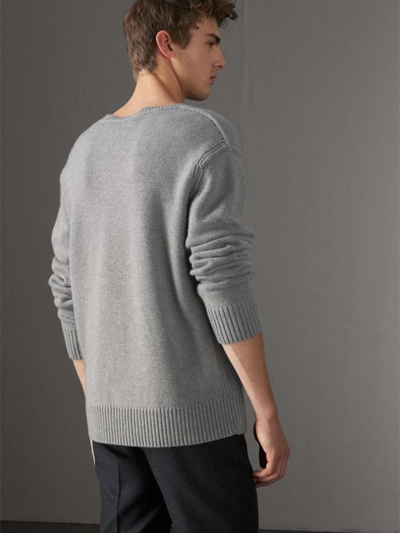 Open-knit Detail Wool Cashmere Sweater in Light Grey Melange - Men | Burberry United States - cell image 2