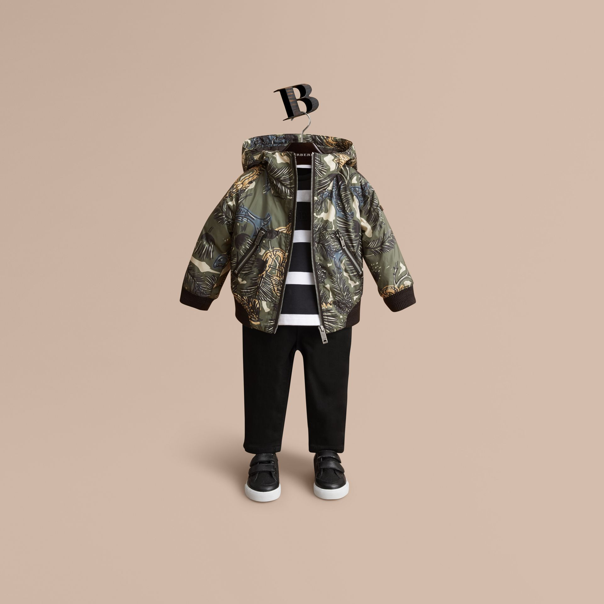 Beasts Print Hooded Bomber Jacket in Sage Green | Burberry - gallery image 0