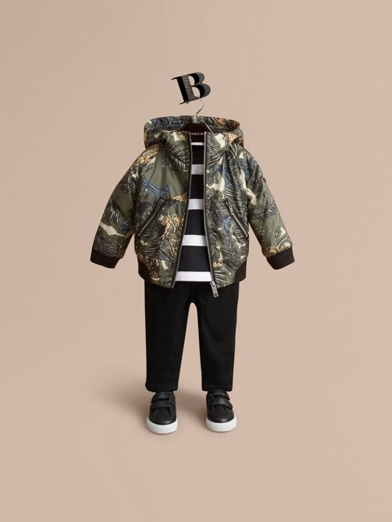 Beasts Print Hooded Bomber Jacket | Burberry