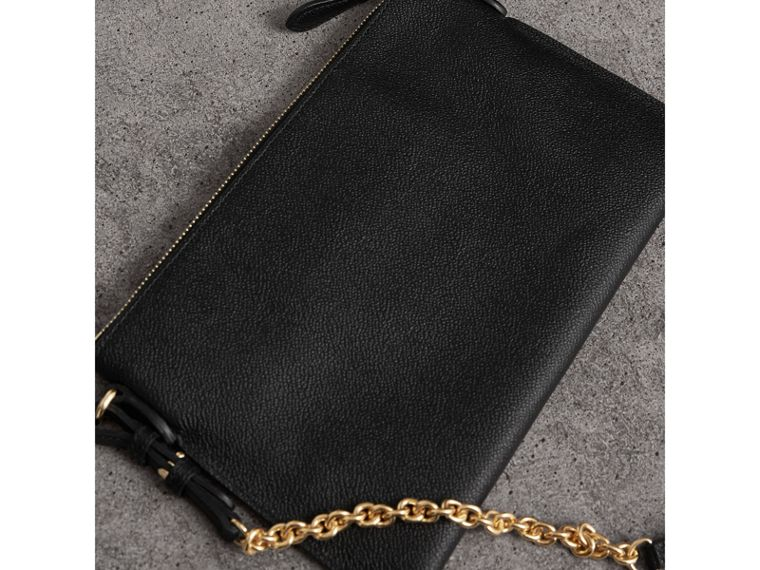 Leather Clutch Bag with Check Lining in Black - Women | Burberry - cell image 4