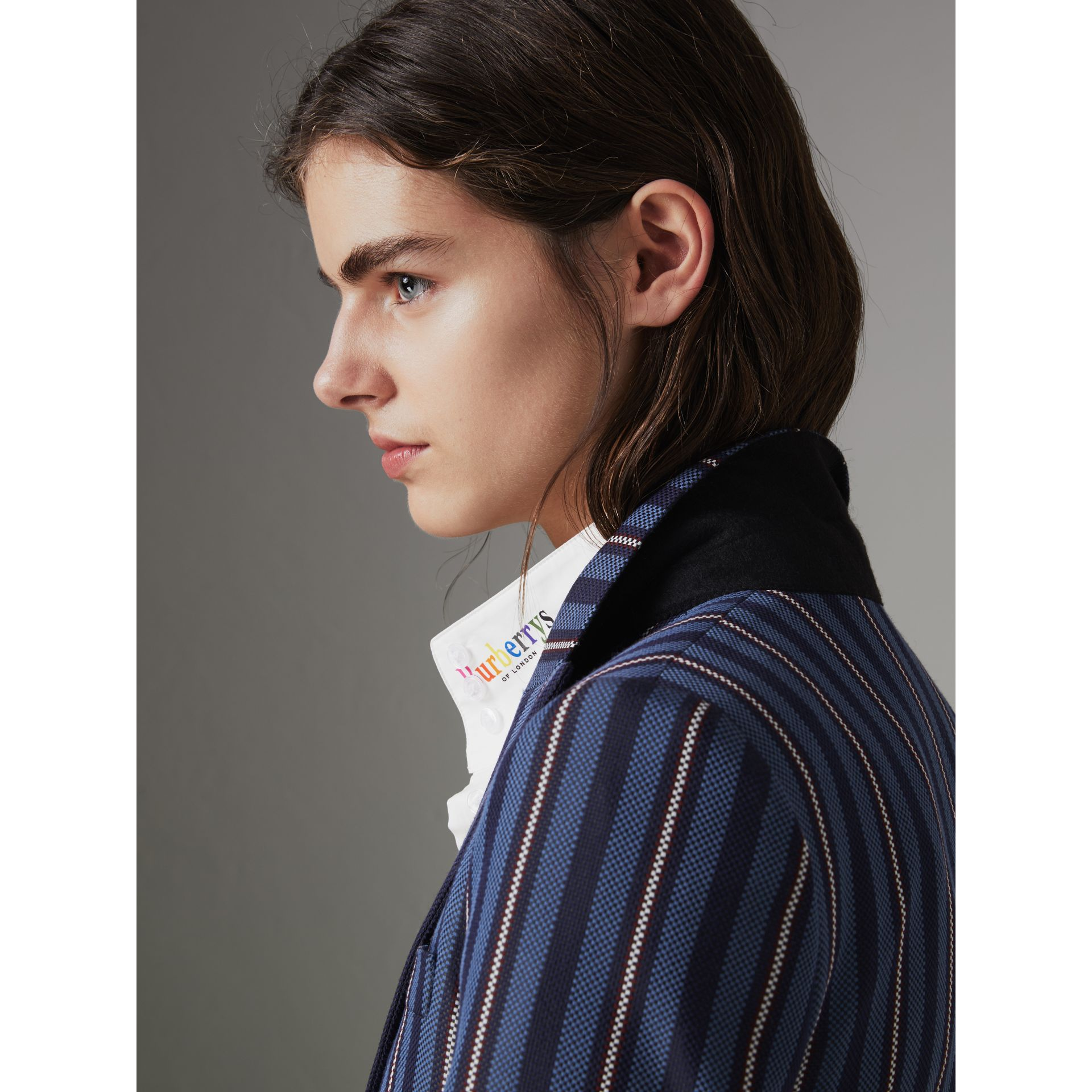 Collegiate Stripe Wool Blend Blazer in Navy/light Blue - Women | Burberry United Kingdom - gallery image 5