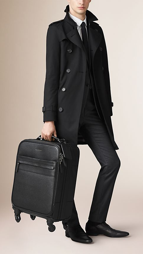 Black London Leather Four-Wheel Suitcase - Image 2