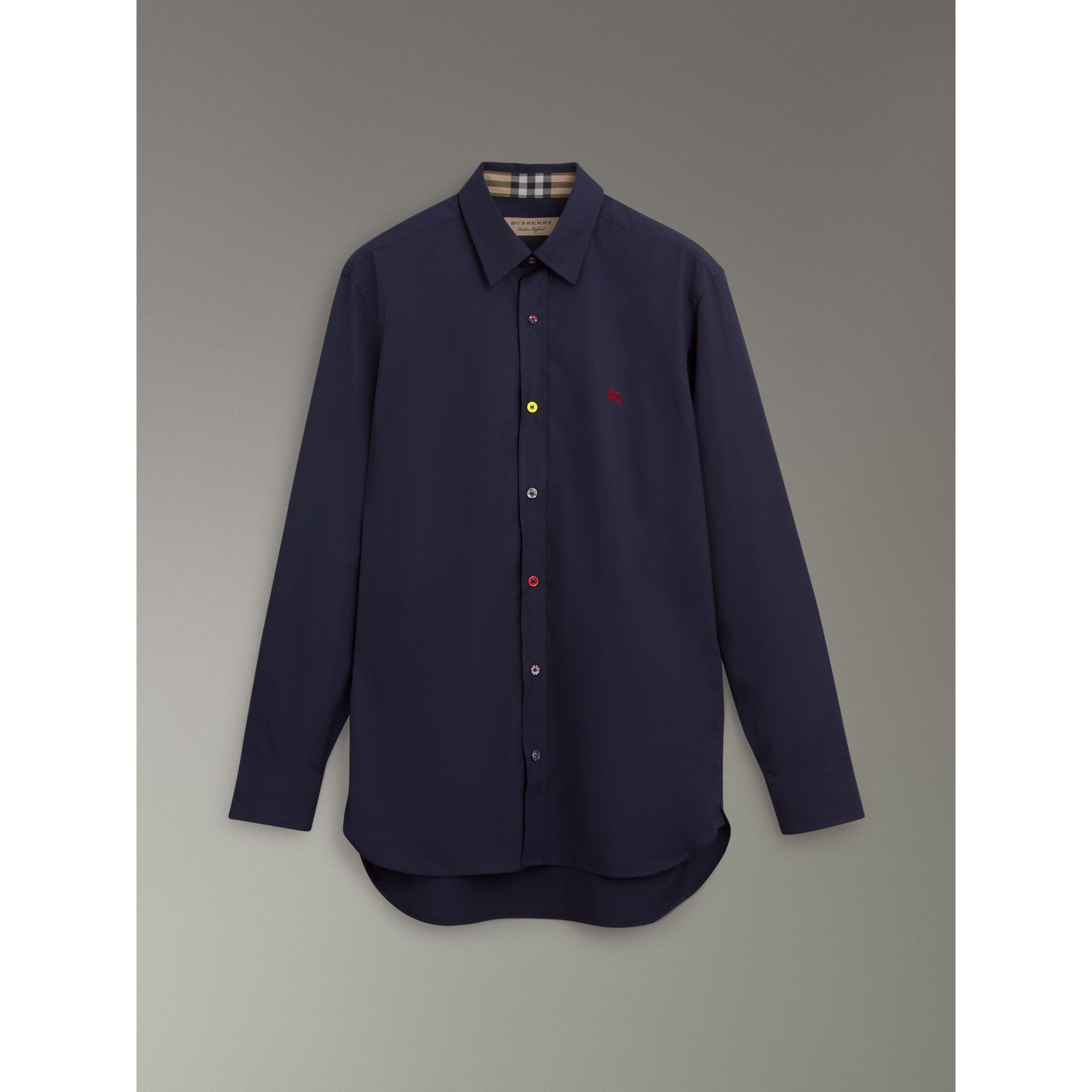 Contrast Button Stretch Cotton Shirt in Navy - Men | Burberry Canada - gallery image 3