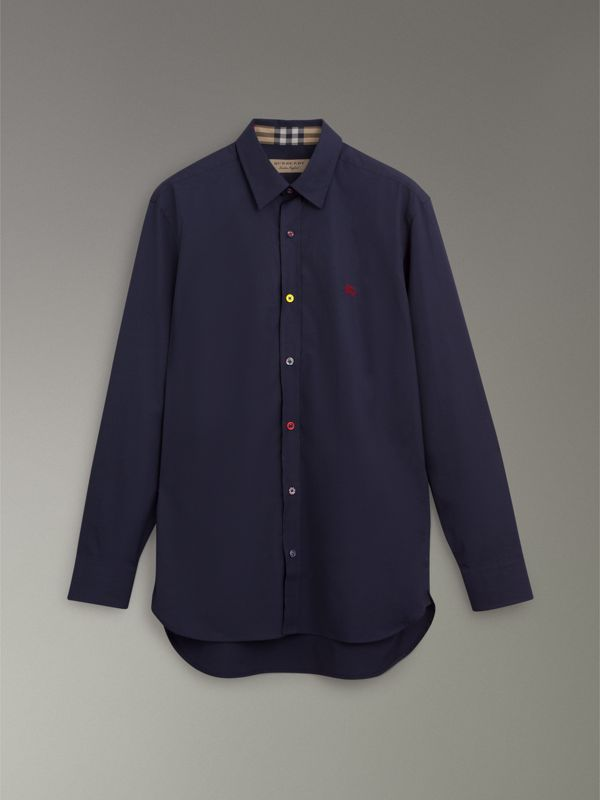 Contrast Button Stretch Cotton Shirt in Navy - Men | Burberry Canada - cell image 3