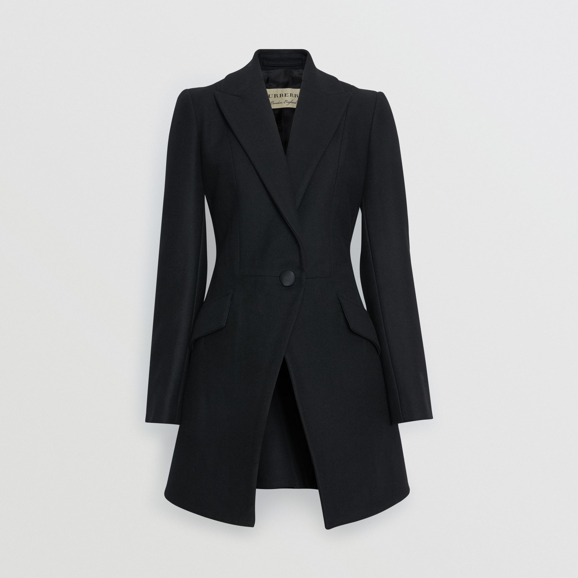 Herringbone Wool Cashmere Blend Tailored Jacket in Black - Women | Burberry - gallery image 3