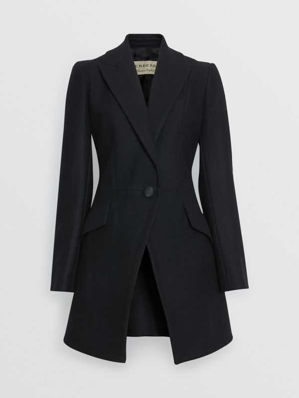 Herringbone Wool Cashmere Blend Tailored Jacket in Black - Women | Burberry United States - cell image 3