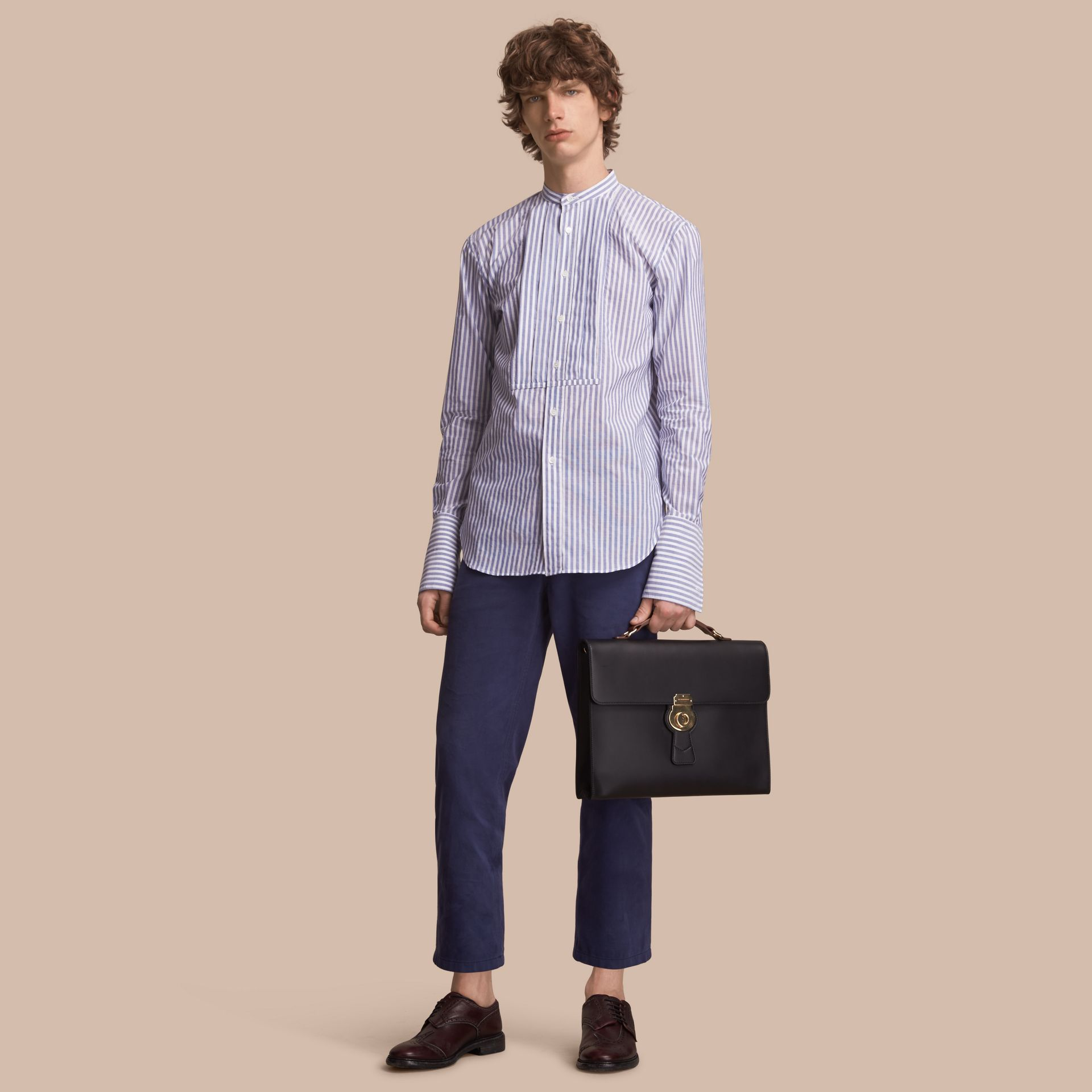 Unisex Pleated Bib Striped Cotton Shirt - gallery image 1