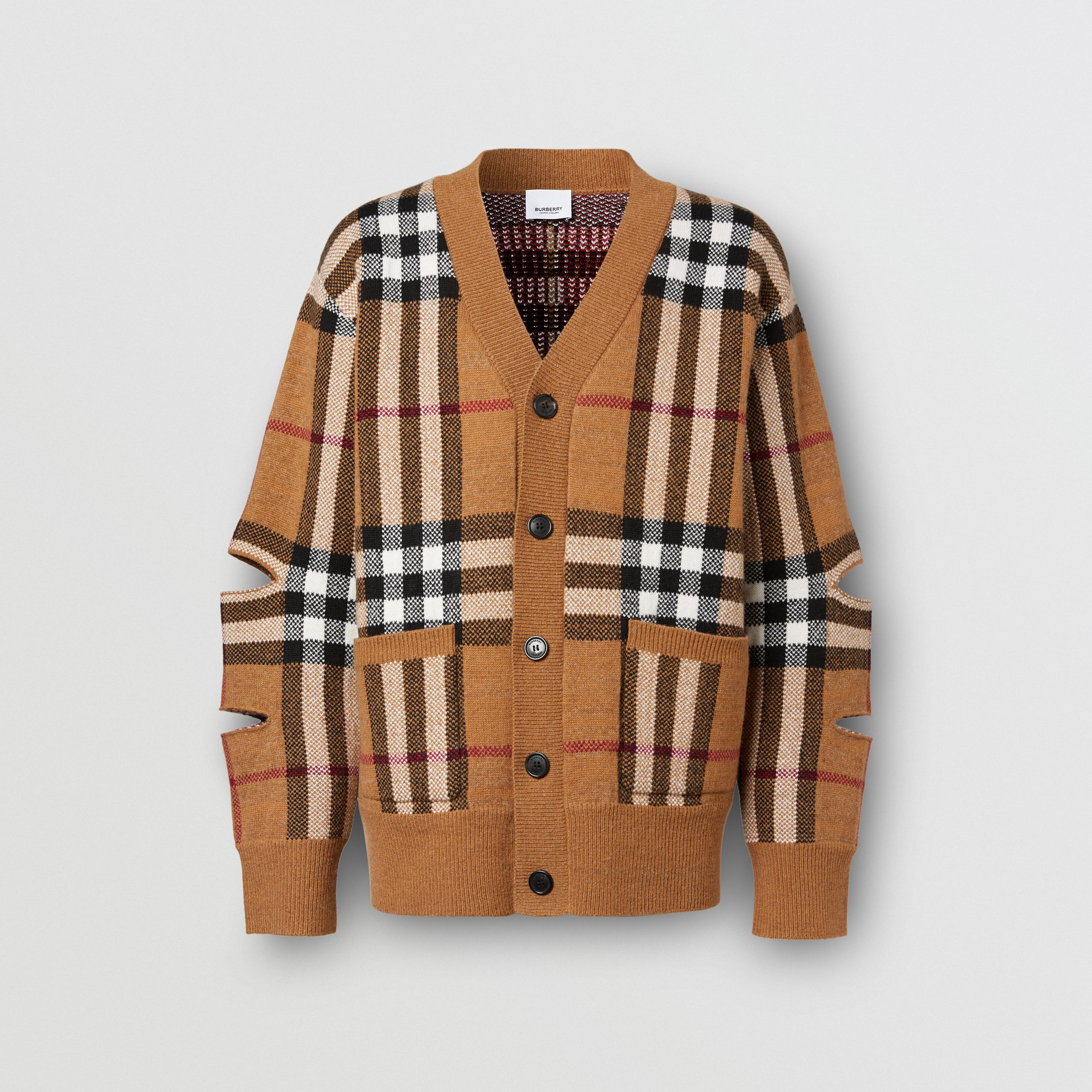 Cut-out Sleeve Check Wool Cashmere Cardigan in Birch Brown | Burberry - 4