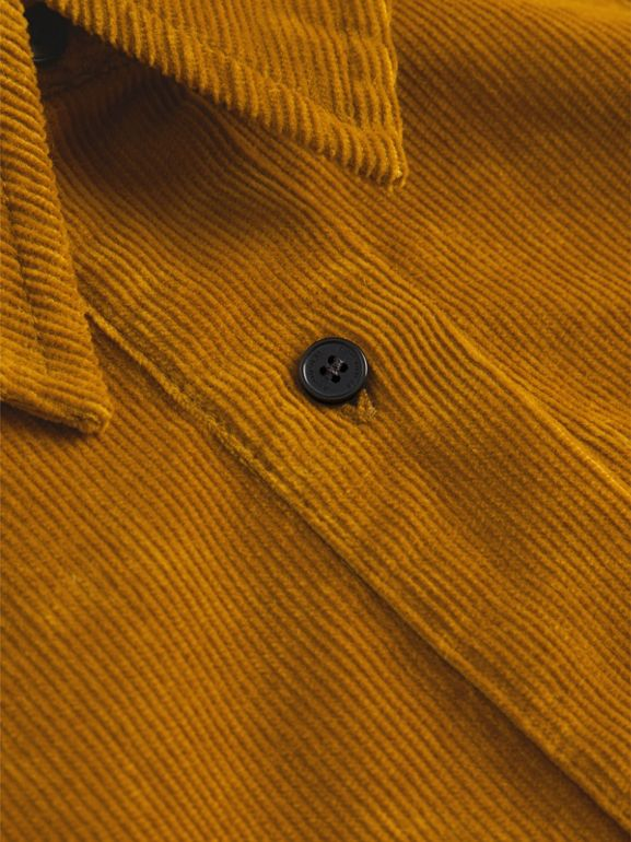 Corduroy Shirt Dress in Ochre | Burberry United Kingdom - cell image 1