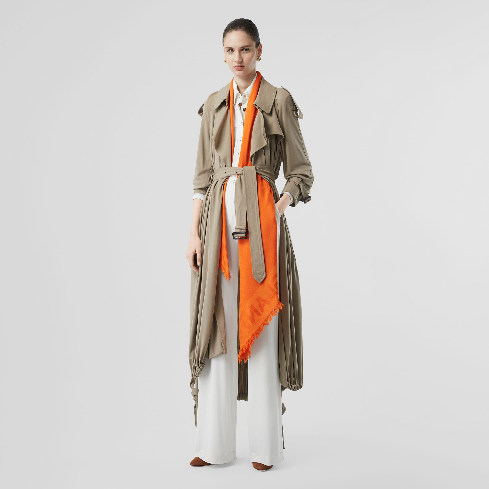 Monogram Silk Wool Jacquard Large Square Scarf in Orange | Burberry - gallery image 5