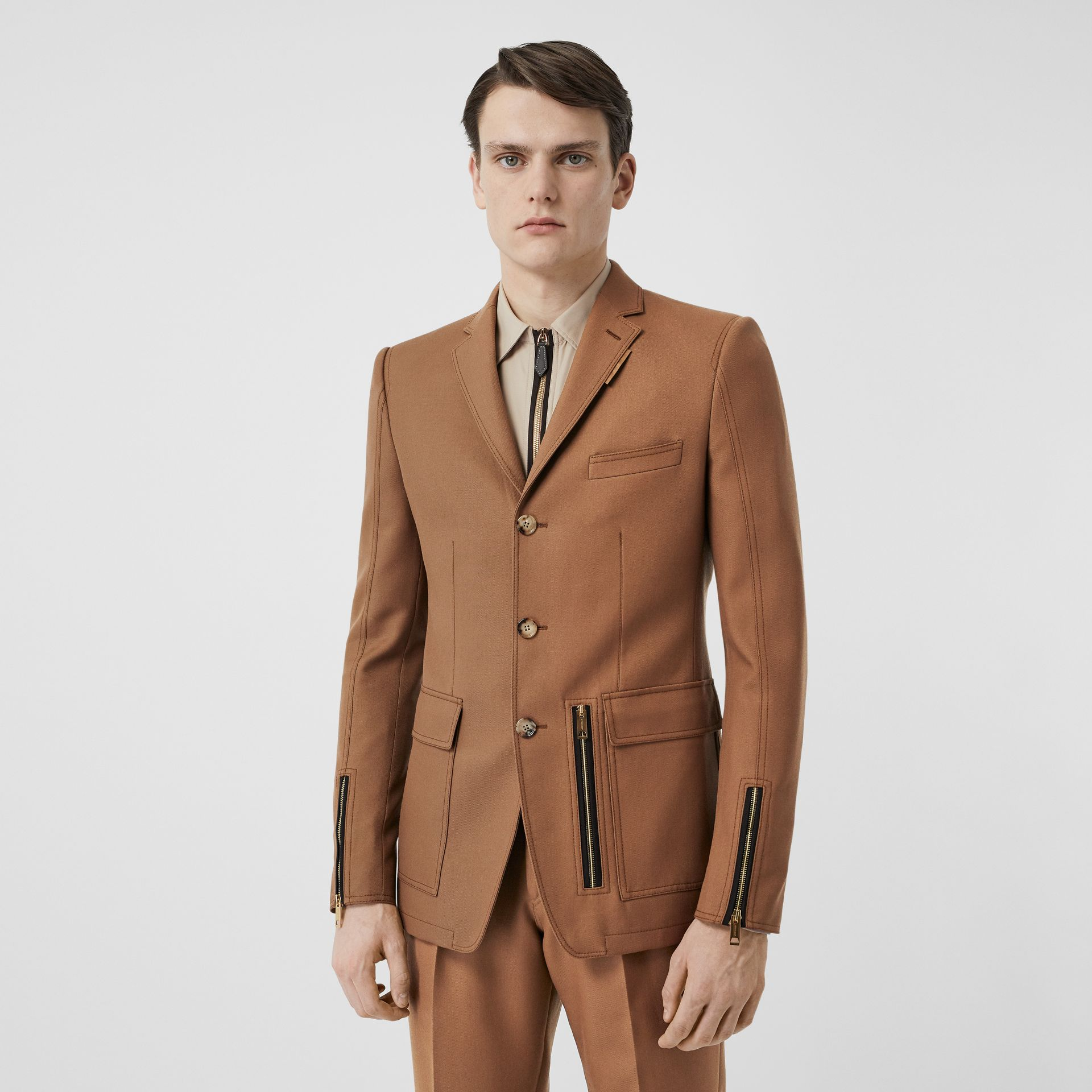 English Fit Zip Detail Wool Tailored Jacket in Dark Walnut - Men | Burberry United Kingdom - gallery image 0