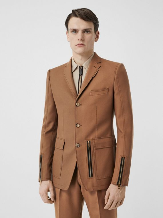 English Fit Zip Detail Wool Tailored Jacket in Dark Walnut