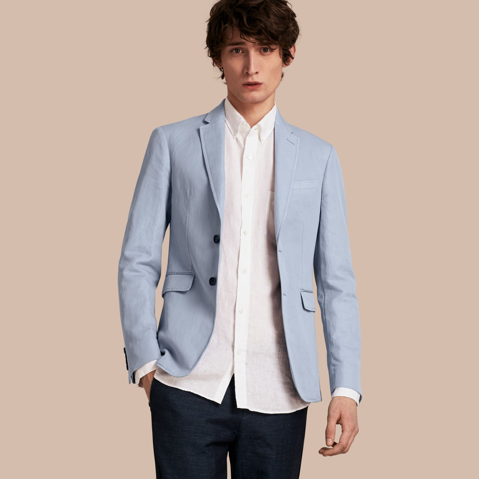 Slim Fit Cotton Linen Jacket in Pale Blue - Men | Burberry - gallery image 0
