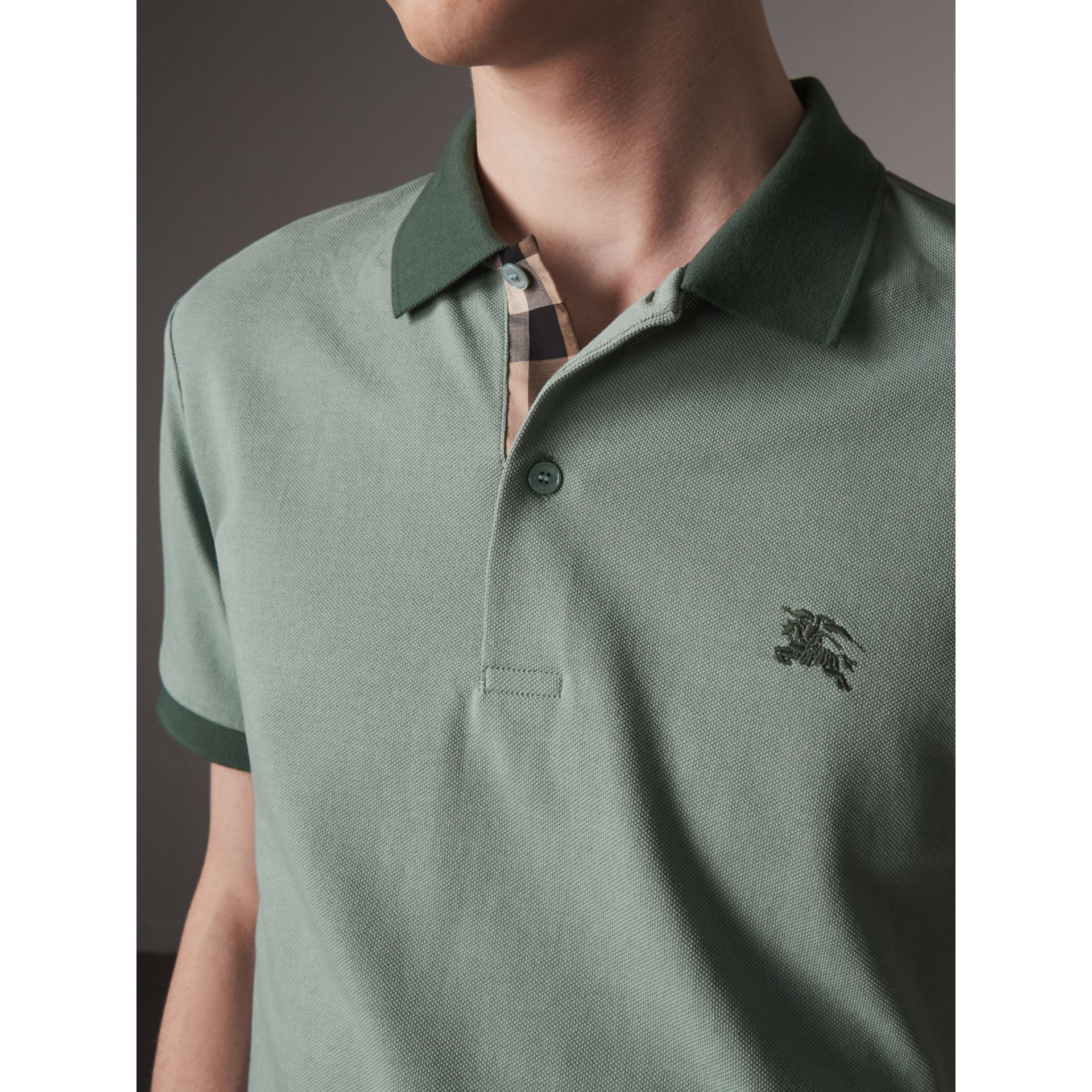 Cotton Piqué Polo Shirt in Eucalyptus Green - Men | Burberry - gallery image 1