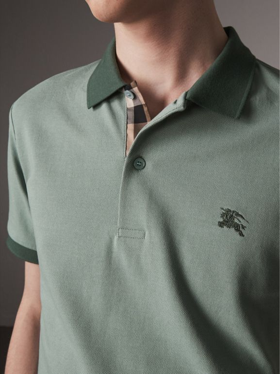 Cotton Piqué Polo Shirt in Eucalyptus Green - Men | Burberry - cell image 1