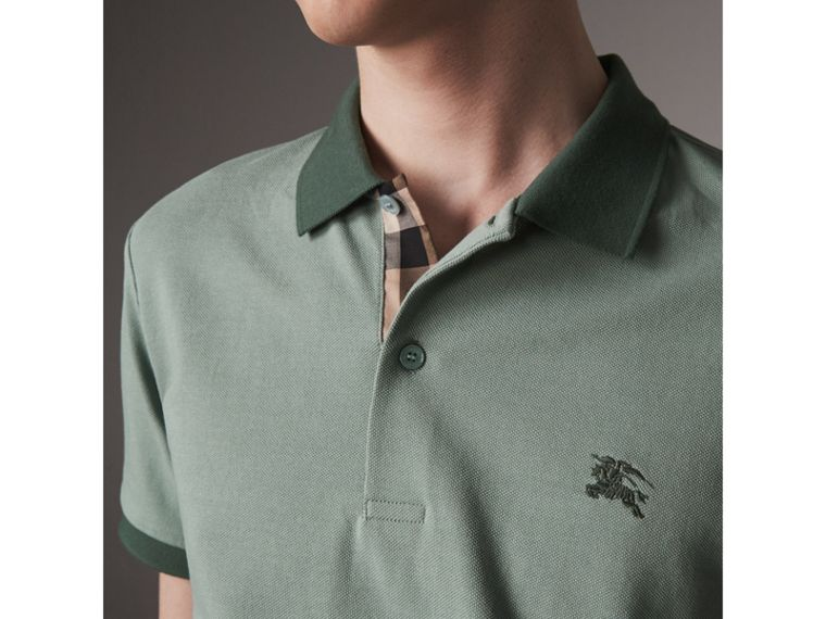 Cotton Piqué Polo Shirt in Eucalyptus Green - Men | Burberry - cell image 1