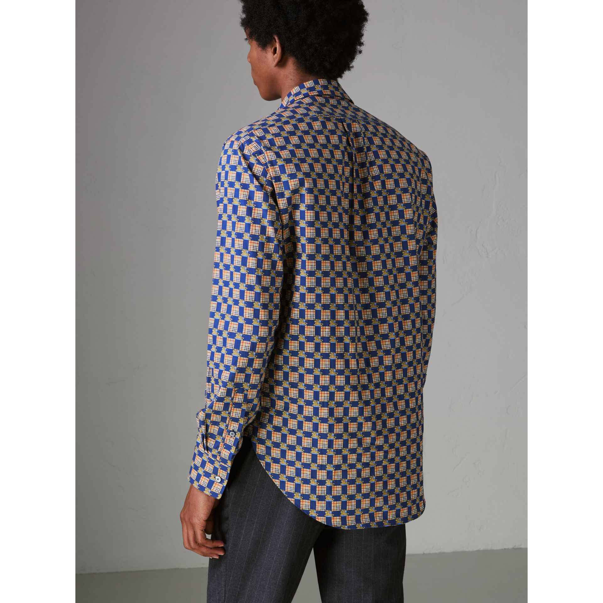Tiled Archive Print Cotton Shirt in Navy - Men | Burberry - gallery image 2